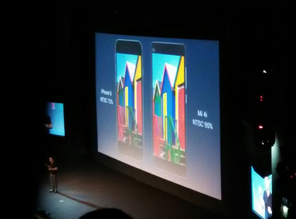 xiaomi mi4i comparison with iphone 6 at xiaomi luanch event -techniblogic