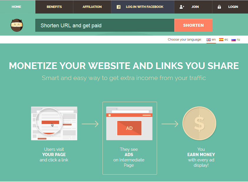 Earn money on short links.