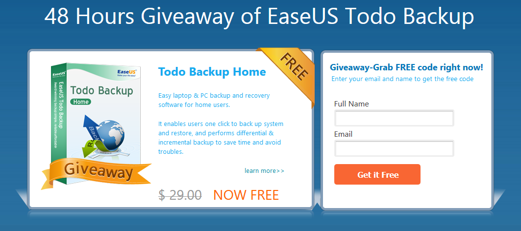Giveaway : Free Download Todo Backup Home worth $29