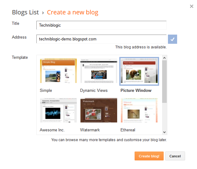 Blogspot add new blog panel