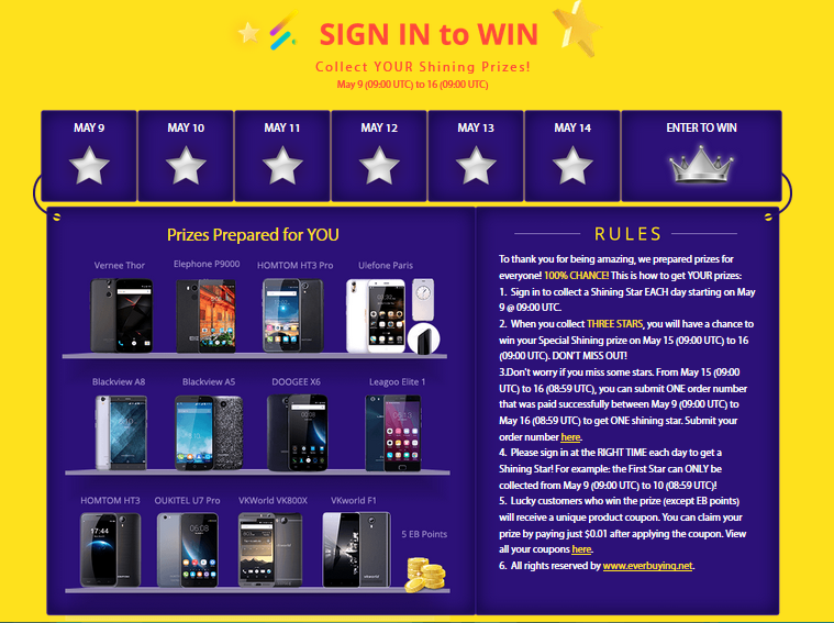 sign in and win by everbuying