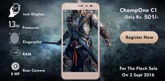 ChampOne C1 4G with 2GB RAM and Fingerprint Scanner at price of Rs 501