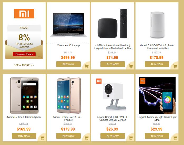 gearbest discount coupons on Xiaomi products
