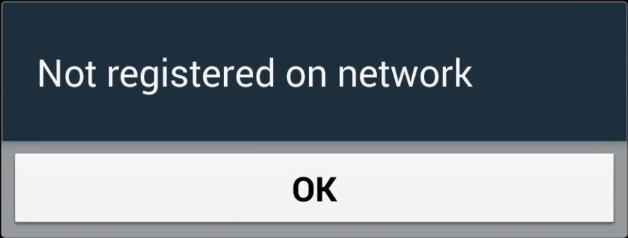 not registered on network error message