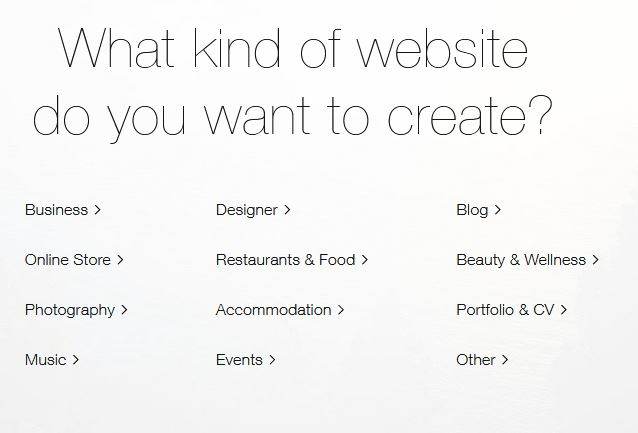 select your website categories