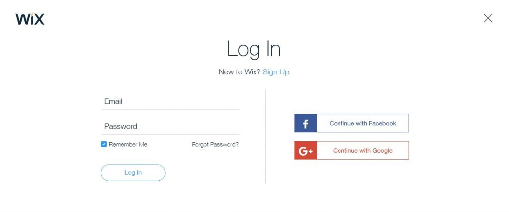 wix login and signup techniblogic
