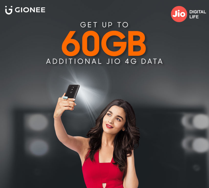 Gionee Offers Up to 60GB of FREE Reliance Jio 4G Data