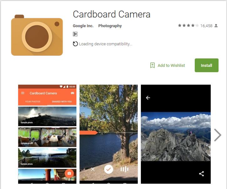 Camera app Cardboard Camera