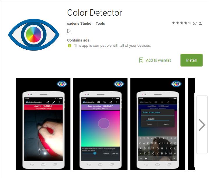 Camera app Color Detector