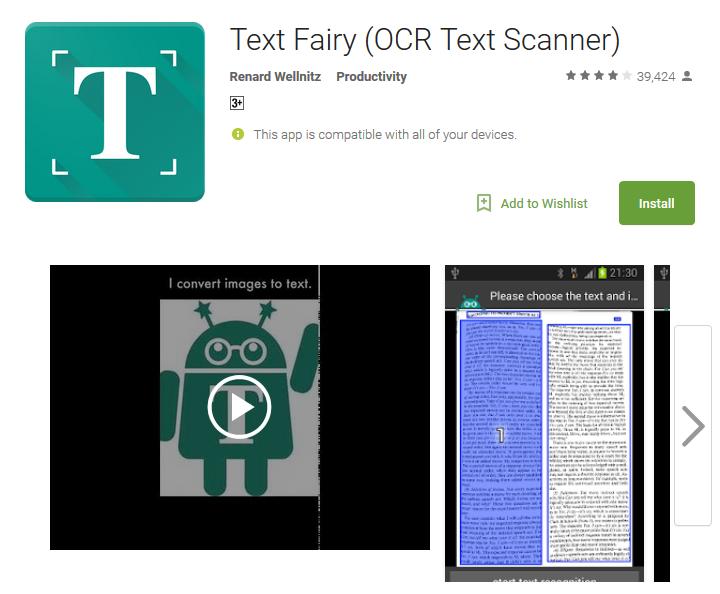 Camera app Text Fairy