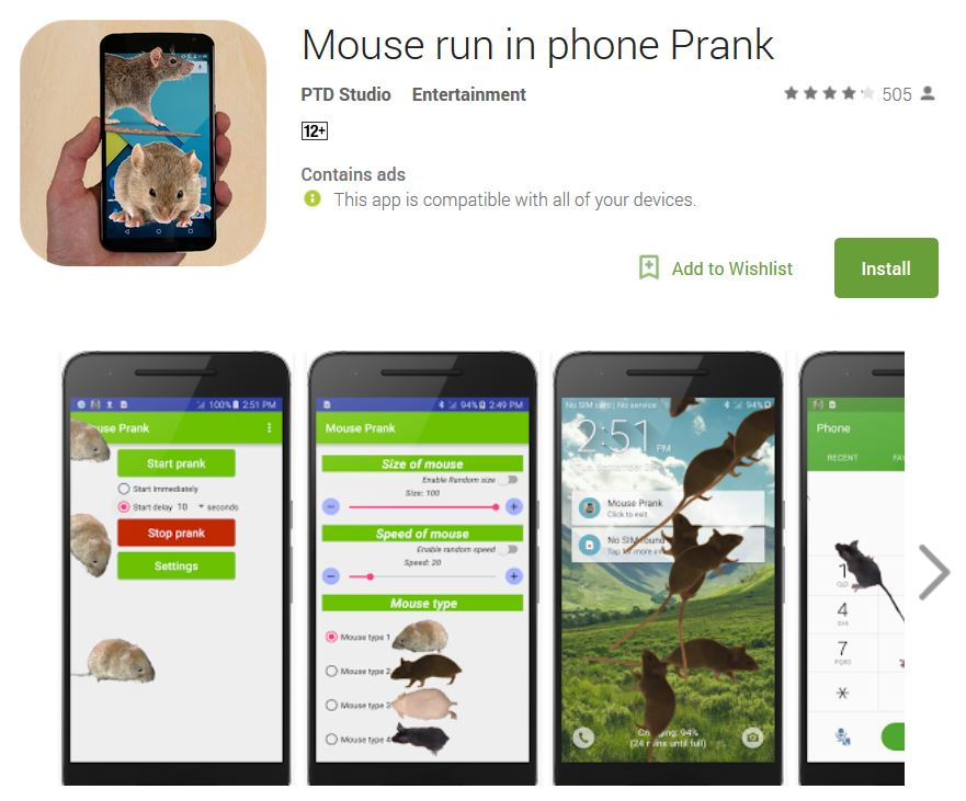 Mouse Run in phone prank