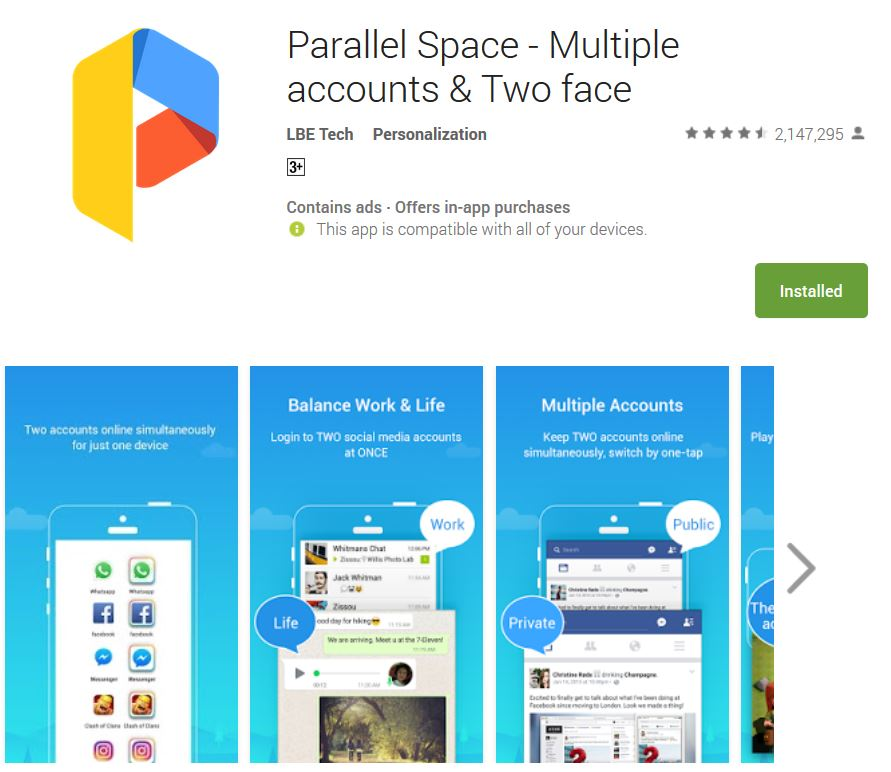 parallel space multiple accounts and two facebook