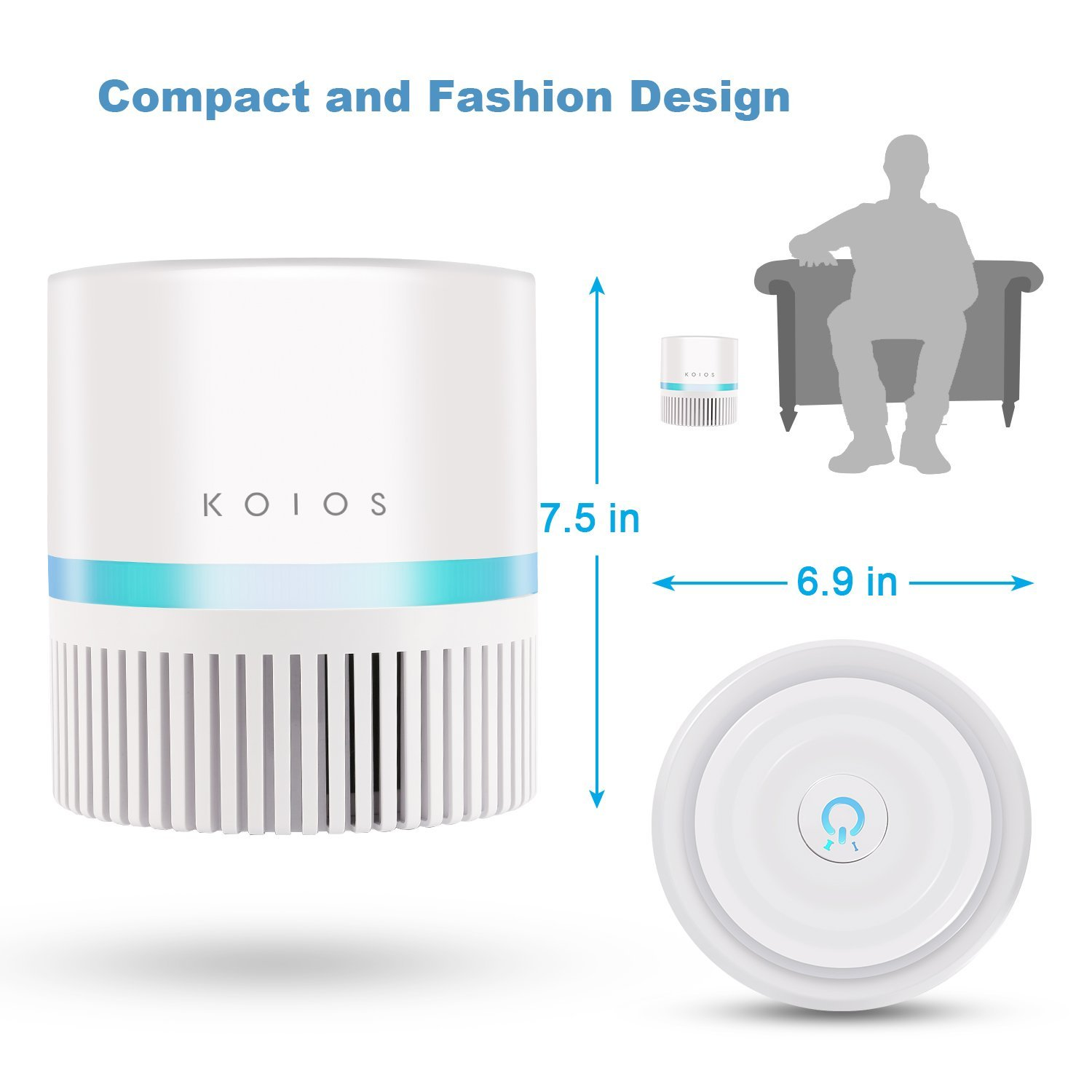 Koios Desktop Air Purifier with True HEPA Filter 3