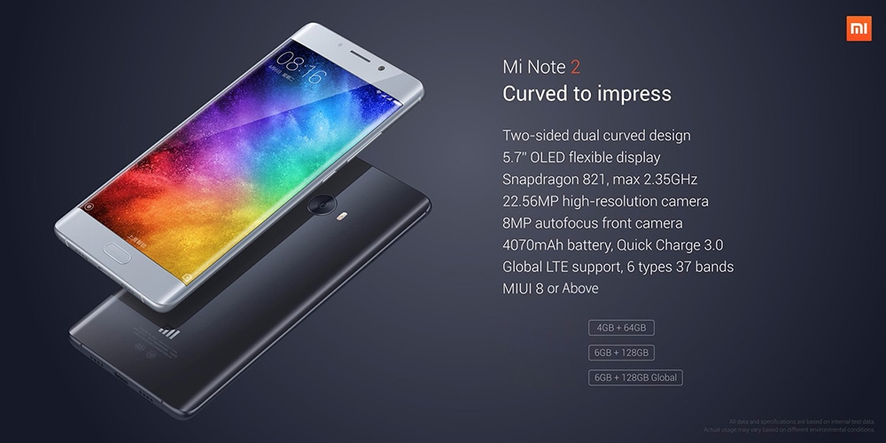 Xiaomi MI Note 2 with Snapdragon 821 and 23MP Camera