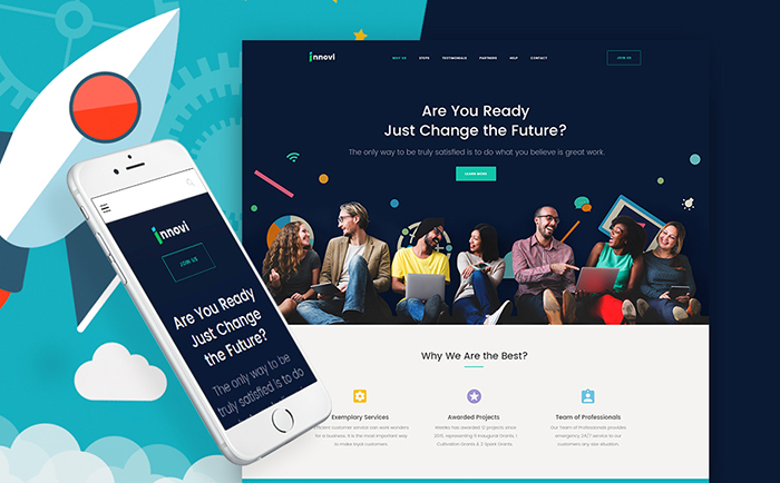 Strikingly-colored Selection of 15 Best Parallax WordPress Themes 14