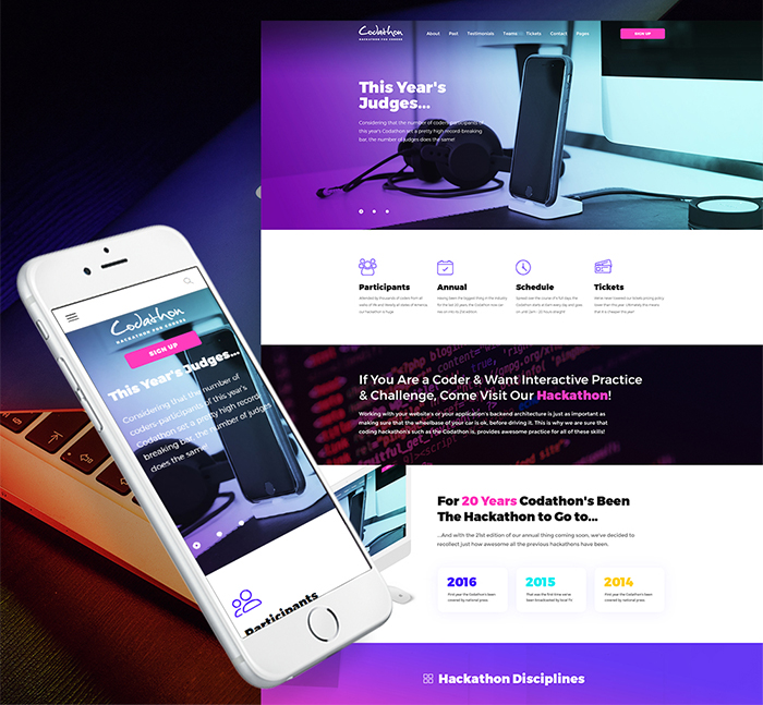 Strikingly-colored Selection of 15 Best Parallax WordPress Themes 9