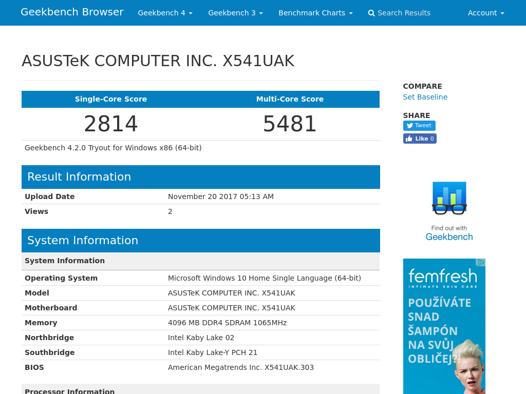 Asus Vivobook Max X541 laptop benchmark