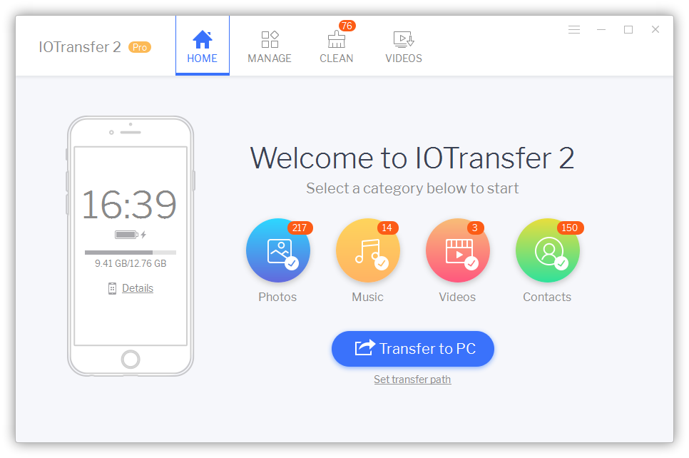 Iotransfer v2 dashboard