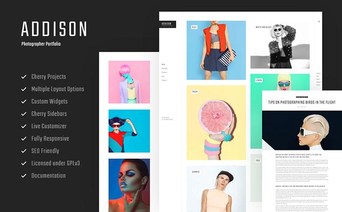 Trendy Addison – Creative Photographer Portfolio WordPress Theme