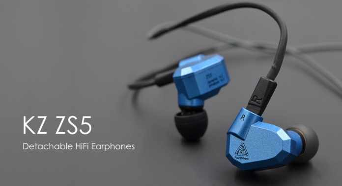 KZ ZS5 Detachable HiFi Earphones - WITHOUT MICROPHONE GRAY