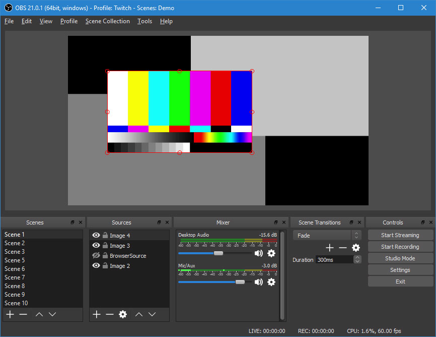 OBSDemoApp Open Broadcast Software studio