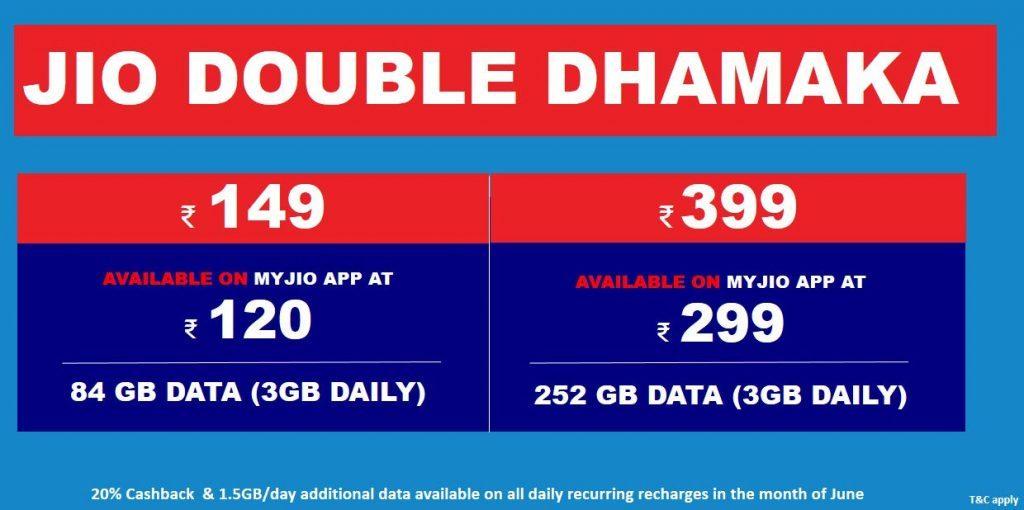 Reliance Jio 'Double Dhamaka' offer