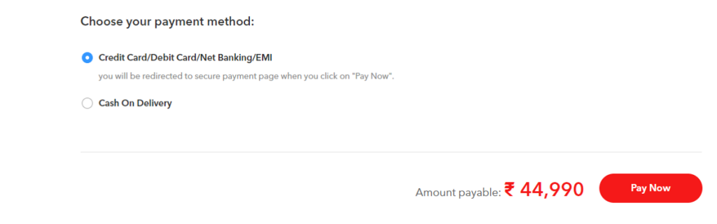 Vivo Flash Deal Payment option Techniblogic