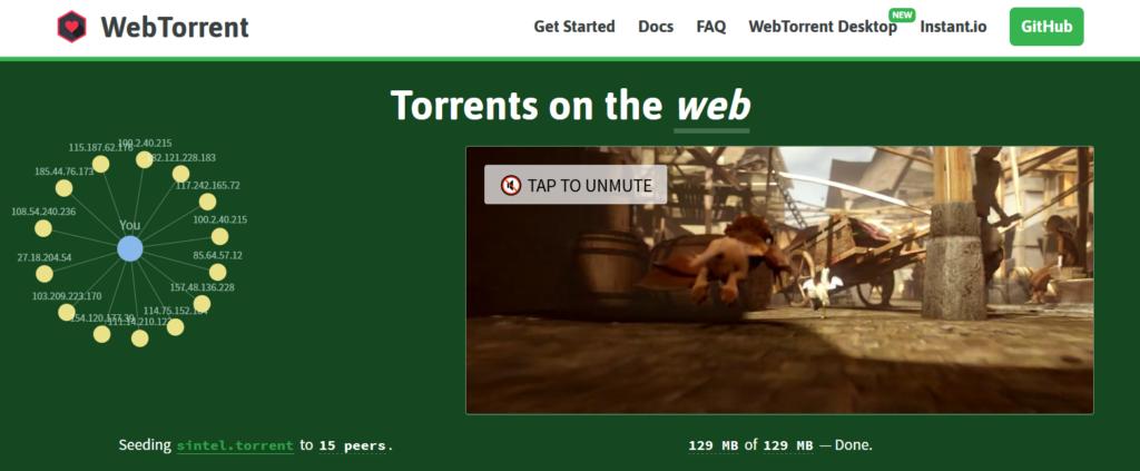 WebTorrent - Streaming browser torrent client