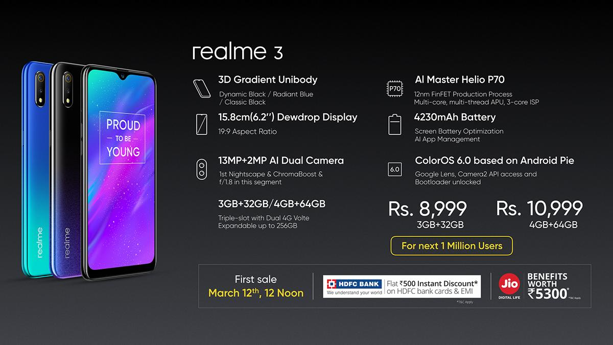 Realme 3 With 4,230mAh Battery Launched in India