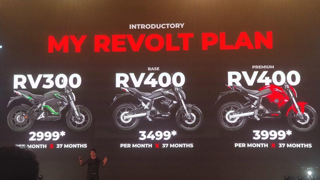 Revolt RV 400, RV 300 Electric Bikes launched price