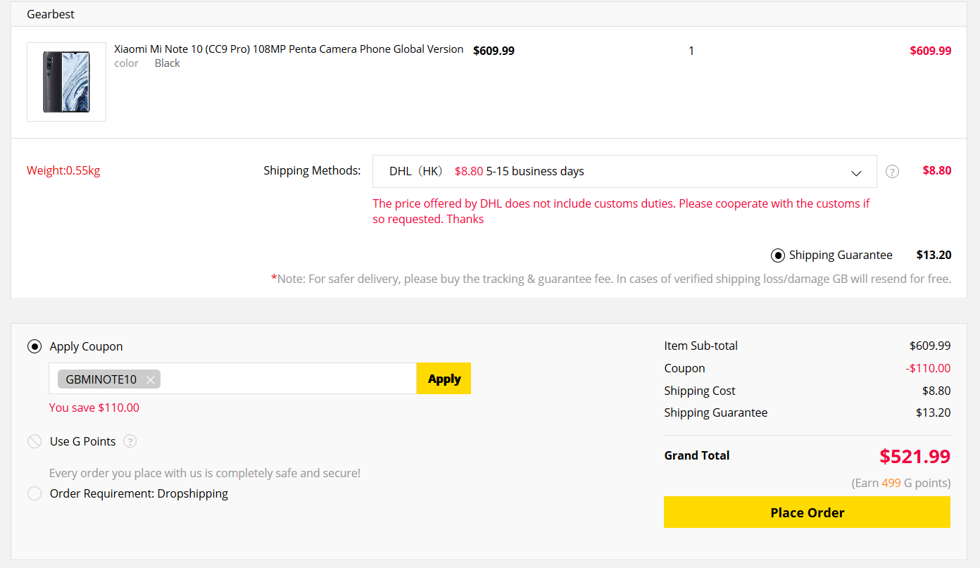 Mi note 10 gearbest coupon code order gearbest com