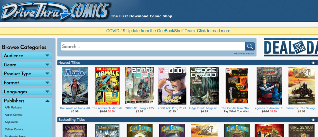 DriveThruComics com - The First Download Comic Shop