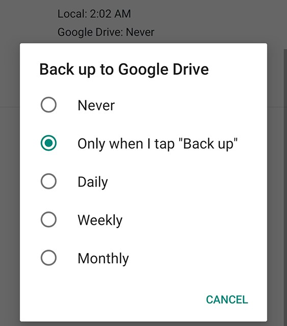 Enable chat backups to Google Drive