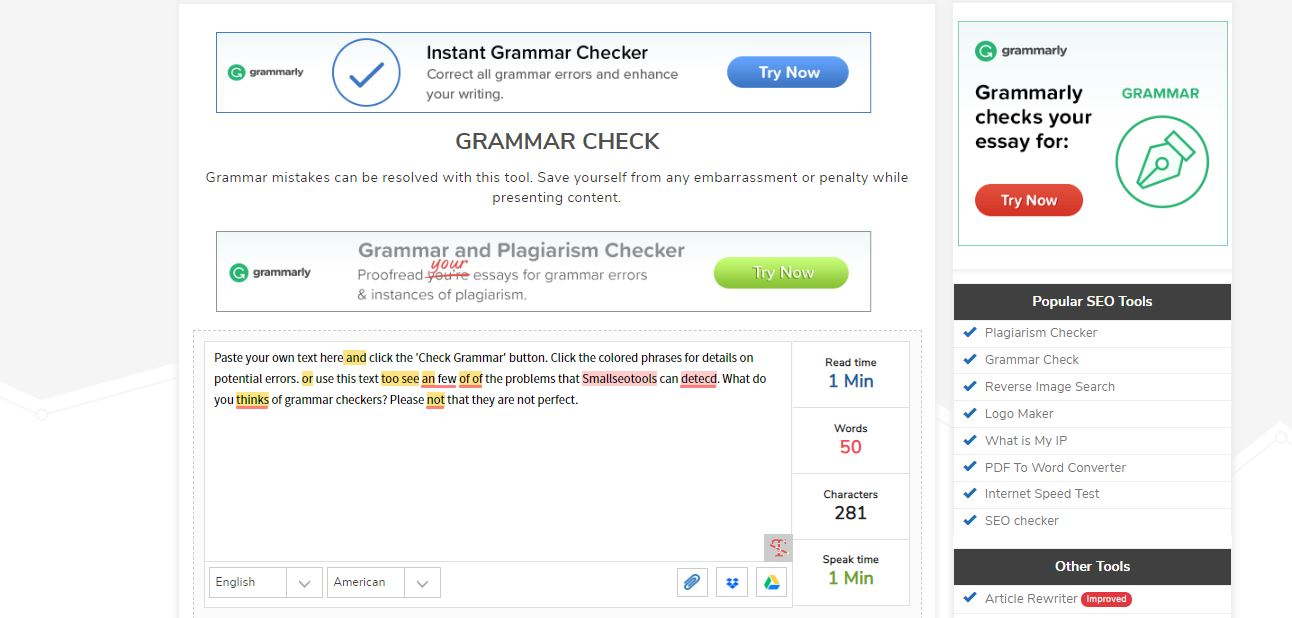 Grammar Checker by SmallSeoTools