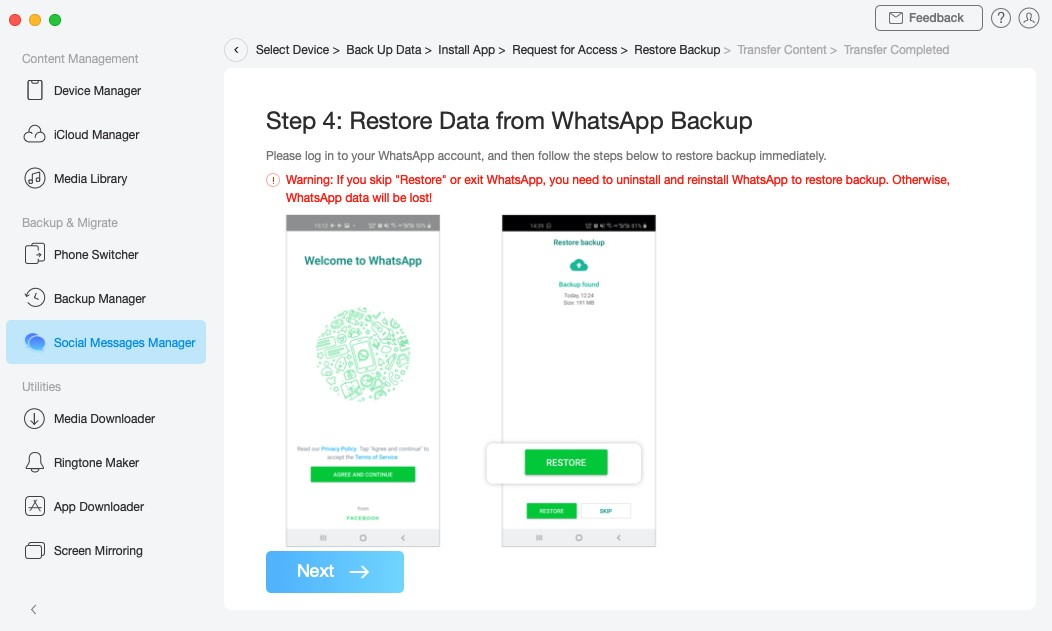 Restore WhatsApp messages on your iPhone