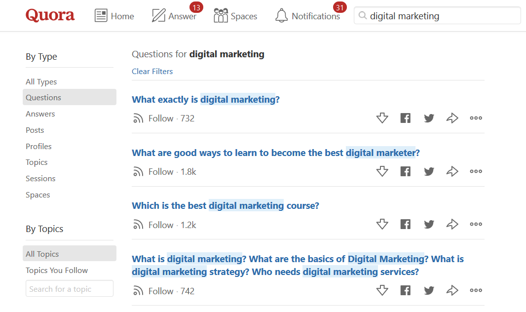 Search - digital marketing - Quora review techniblogic
