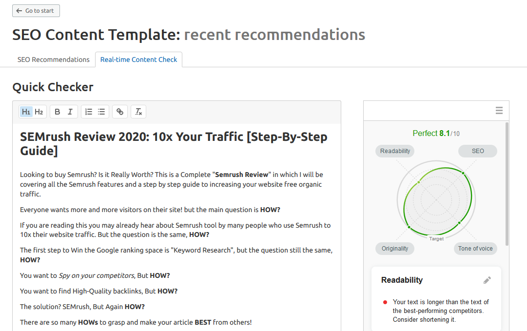 Semrush review Seo Content Template
