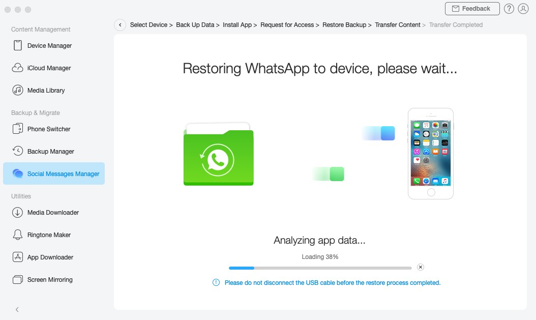 Your WhatsApp messages being restored on your iPhone