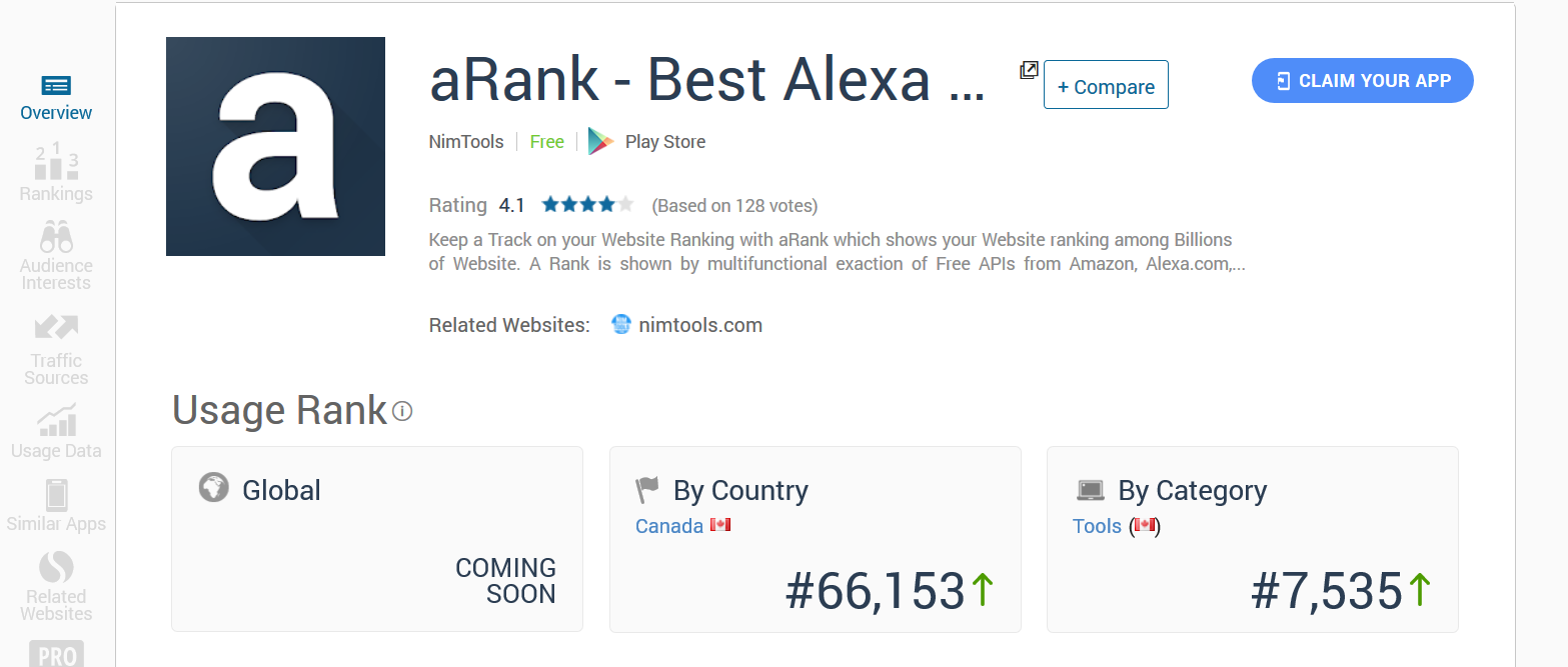 aRank - Best Alexa Rank Checker by NimTools stats similarweb