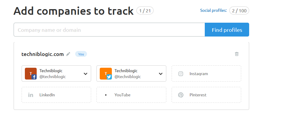 techniblogic com - Social Media Tracker SEMrush