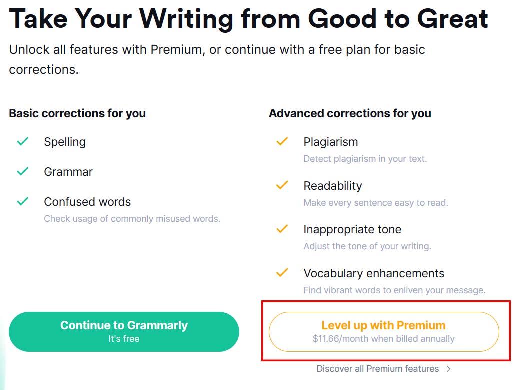 Start with Grammarly Premium