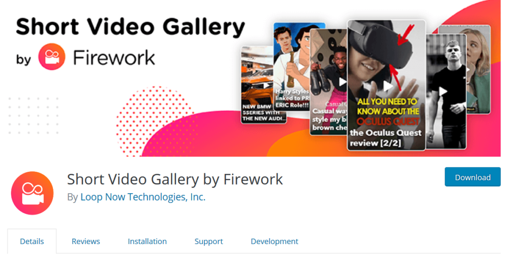 wordpress plugin Short Video Gallery by Firework