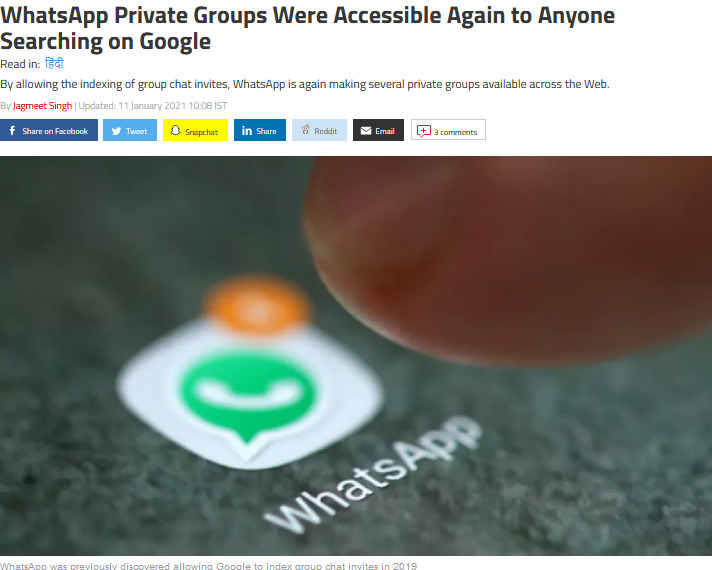 WhatsApp's Private Groups Can Be Seen by Anyone via Google